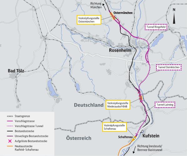Grafik vom Nordzulauf des Brenner-Basistunnel