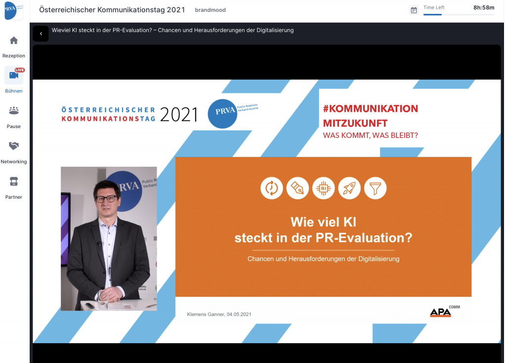 Klemens Ganner von der APA-DeFacto Datenbank spricht am Kommunikationstag 2021